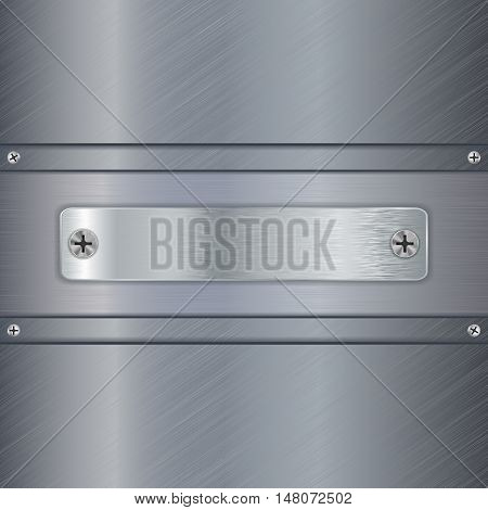 Steel plate with screw on metal brushed background. Vector illustration