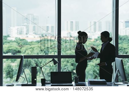 Female business executive talking to her assistant