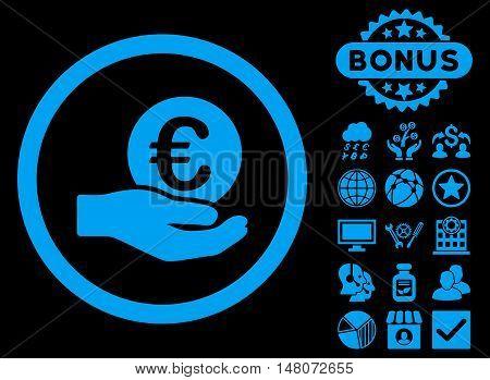 Euro Salary Hand icon with bonus design elements. Vector illustration style is flat iconic symbols, blue color, black background.