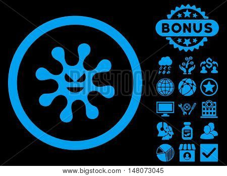 Evil Bacteria icon with bonus symbols. Vector illustration style is flat iconic symbols, blue color, black background.