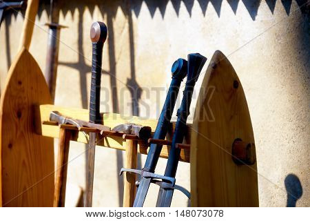 set of middle age style weapons, parts of knight armor