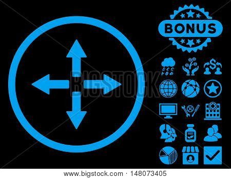 Expand Arrows icon with bonus images. Vector illustration style is flat iconic symbols, blue color, black background.