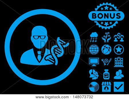Genetic Engineer icon with bonus images. Vector illustration style is flat iconic symbols blue color black background.