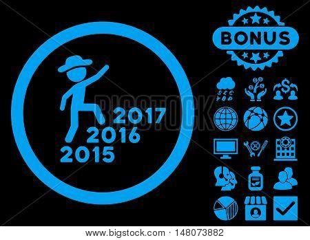 Gentleman Steps Years icon with bonus symbols. Vector illustration style is flat iconic symbols, blue color, black background.