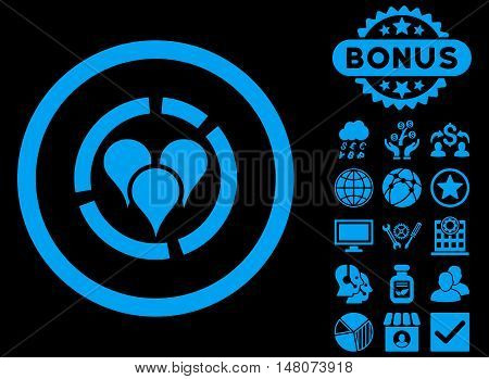 Geo Diagram icon with bonus symbols. Vector illustration style is flat iconic symbols, blue color, black background.