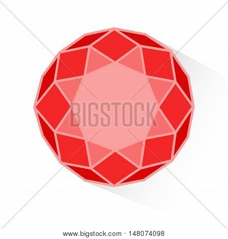Red gem isolated on a white background. Ruby.