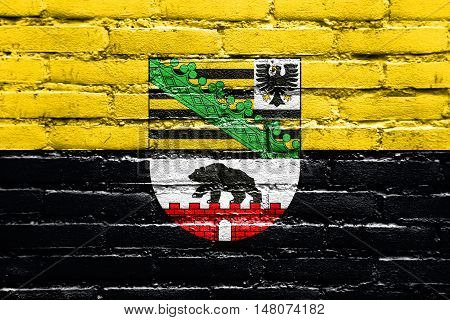 Flag Of Saxony-anhalt With Coat Of Arms, Germany, Painted On Brick Wall