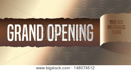 Grand opening vector banner illustration flyer poster. Elegant template design element with golden paper tear off for opening ceremony shop club startup