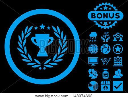 Glory icon with bonus pictures. Vector illustration style is flat iconic symbols, blue color, black background.