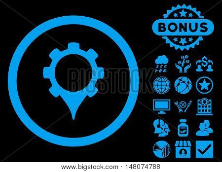 GPS Settings icon with bonus pictures. Vector illustration style is flat iconic symbols, blue color, black background.