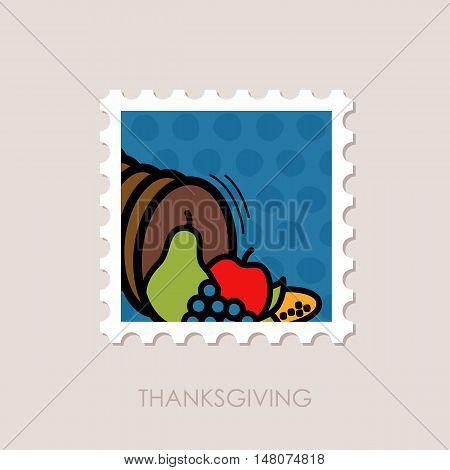 Autumn cornucopia horn of plenty stamp. Harvest. Thanksgiving vector illustration eps 10