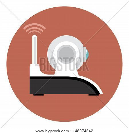 Digital vector white wi-fi and web camera with antenna icon, flat style.