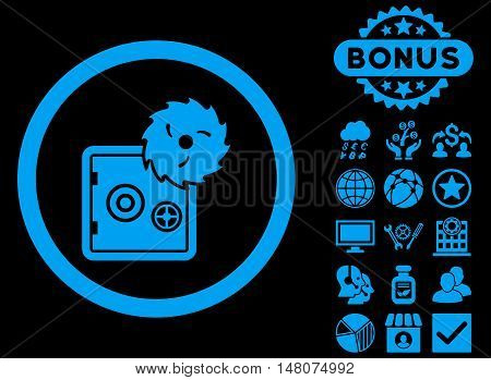 Hacking Theft icon with bonus elements. Vector illustration style is flat iconic symbols, blue color, black background.