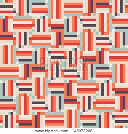 Geometric colorful op art pattern. Vector stripes in red color. Geometric background with squares, dots, pixels and stripes. Striped print for fall winter fashion. Textile design with geometric shapes