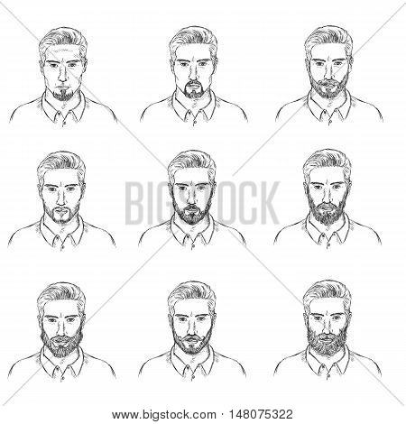 Vector Set Of Sketch  Mens Faces With Beards