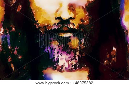 detail of Jesus face, abstract colorful collage