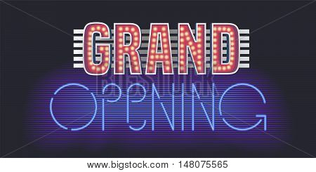 Grand opening vector banner poster illustration flyer invitation. Unusual design element with retro vintage 60s and neon lettering for opening ceremony