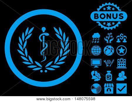 Health Care Emblem icon with bonus elements. Vector illustration style is flat iconic symbols blue color black background.