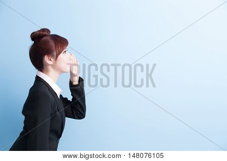 business woman is yell with isolated on blue background asian