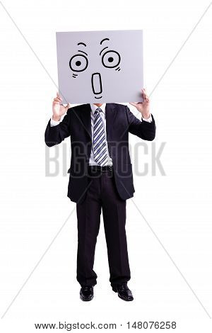 businessman holding surprise expression billboard with isolated white background