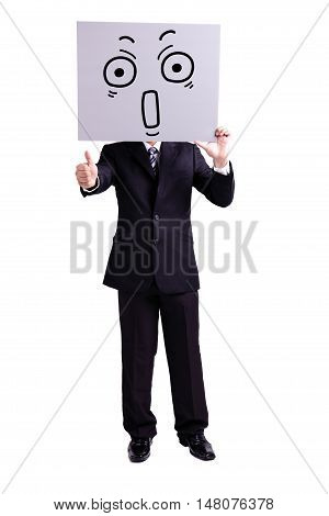businessman holding surprise expression billboard and thumb up with isolated white background