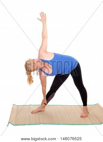 A lovely blond woman in yoga outfit showing some poses for yoga exercises isolated for white background.