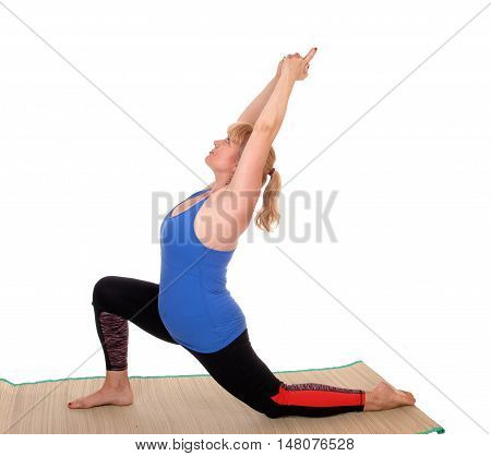 A lovely blond woman in yoga outfit showing some poses for yoga stretching isolated for white background.