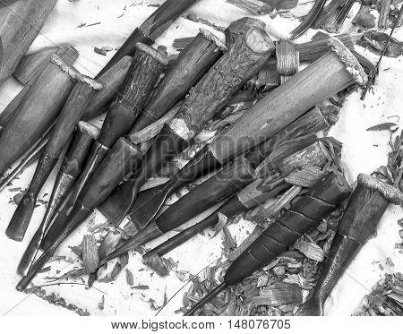 chisels Equipment for wood carving craftsmen .