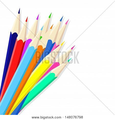 Pattern with colored pencils. Children's bright pattern.