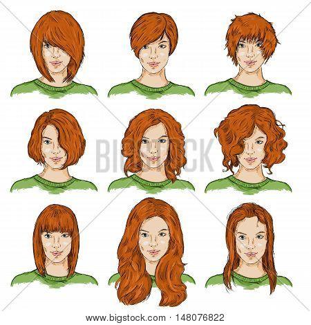 Vector Set Of Color Sketch Female Faces
