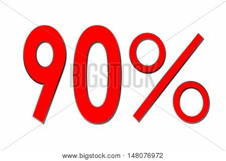 Red percent sign 90 %  on white background .