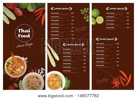 vector of Thai foods restaurant menu templateThai dish and ingredients on wooden background