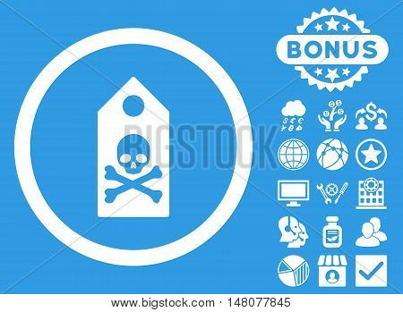 Death Mark icon with bonus pictures. Vector illustration style is flat iconic symbols, white color, blue background.