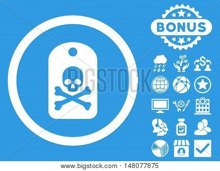 Death Sticker icon with bonus images. Vector illustration style is flat iconic symbols, white color, blue background.