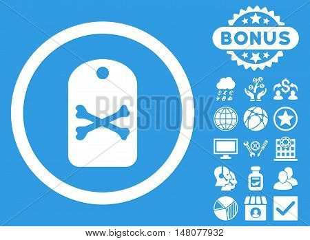 Death Tag icon with bonus pictures. Vector illustration style is flat iconic symbols, white color, blue background.