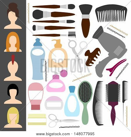 Icons for the beauty salon. Other items for the cabin. For haircuts and styling. Vector illustration.