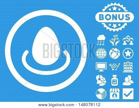 Deposit Egg icon with bonus design elements. Vector illustration style is flat iconic symbols, white color, blue background.