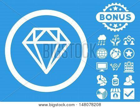 Diamond icon with bonus design elements. Vector illustration style is flat iconic symbols, white color, blue background.