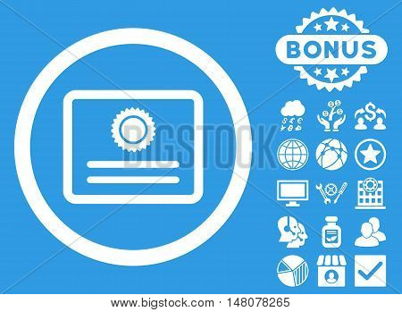 Diploma icon with bonus design elements. Vector illustration style is flat iconic symbols, white color, blue background.