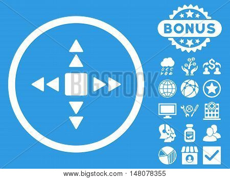 Direction Triangles icon with bonus pictures. Vector illustration style is flat iconic symbols, white color, blue background.