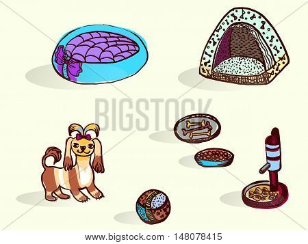 Set of things for dogs.Horizontal vector illustration.