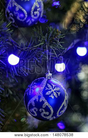 New Year's ball. New Year's blue tone still life with soft Focus