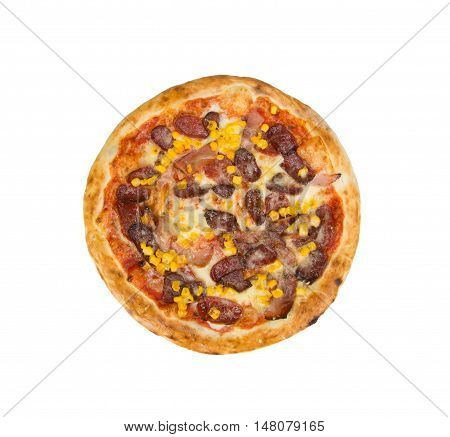 Pizza on a white background with tomato sauce, cheese, sausage, tenderloin and corn.