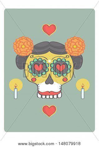Colorful sugar skull for halloween or mexican day of the dead. Vector illustration of female skull with mexican style decorations.