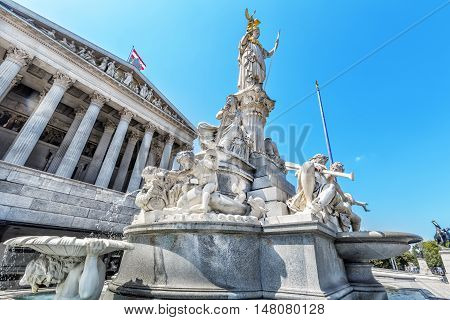 Austrian Parliament Building With Famous Pallas Athena Fountain.