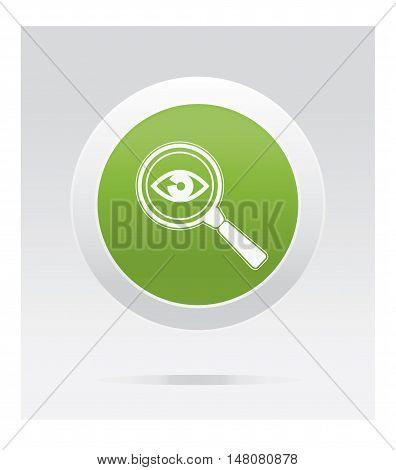Eye observe. Medical icon. Green vector button.