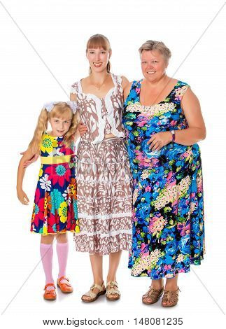 Happy grandmother with her daughter and beloved granddaughter-Isolated on white background
