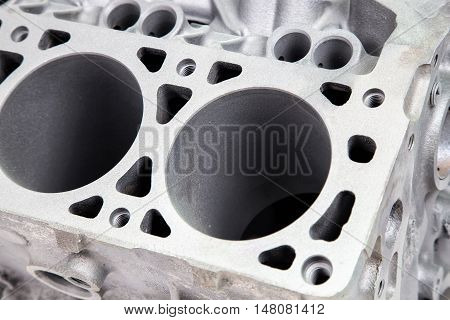 Detail of engine after powder coating, closeup photo
