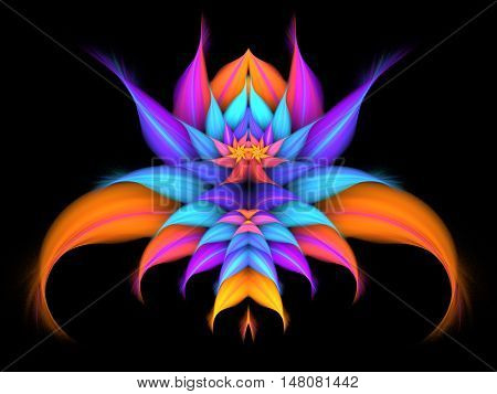 Abstract exotic flower on black background. Symmetrical pattern in bright purple pink blue and orange colors. Fantasy fractal design for posters wallpapers or t-shirts. Digital art. 3D rendering.