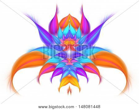 Abstract exotic flower on white background. Symmetrical pattern in bright purple pink blue and orange colors. Fantasy fractal design for posters wallpapers or t-shirts. Digital art. 3D rendering.